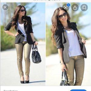 Zara women Gold Jeans